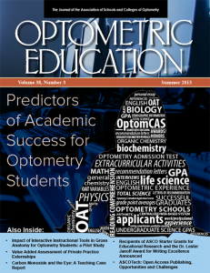 Optometric Education Volume 38 Number 3 Summer 2013