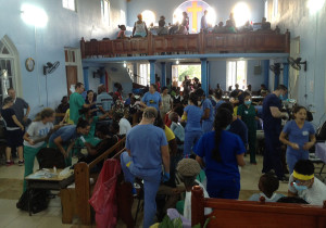 Figure 1. During the mission trip, a room in a church was converted into a makeshift eye, dental and medical clinic.